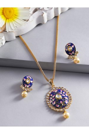 Jewels Galaxy Navy & White Gold-Plated Stone-Studded Enamelled Jewellery Set