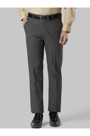 Raymond Weil Men Grey Slim Fit Checked Formal Trousers