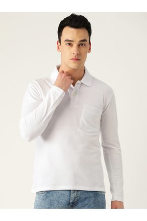 CHKOKKO Men White Solid Polo Collar T-shirt