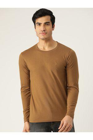 CHKOKKO Men Mustard Brown Solid Round Neck T-shirt
