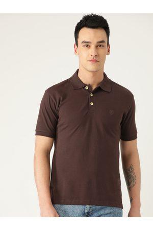 CHKOKKO Men Short Sleeve - Men Coffee Brown Solid Polo Collar T-shirt