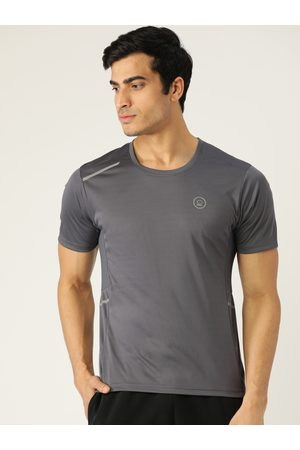 CHKOKKO Men Charcoal Grey Solid Round Neck Yoga Gym T-shirt