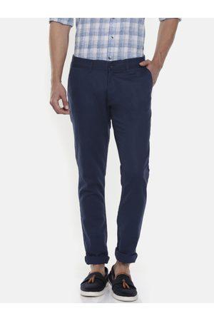 Pepe Jeans Men Navy Blue Crest Slim Fit Solid Regular Trousers