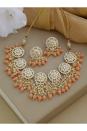 Shoshaa Gold-Plated White Kundan-Studded & Peach-Coloured Beaded Jewellery Set