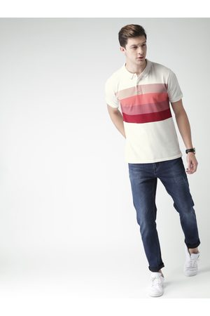 Mast & Harbour Men Off-White Striped Polo Collar T-shirt