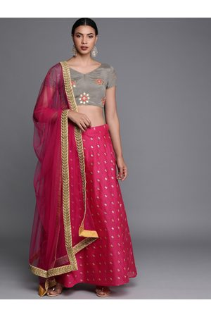 Bollywood Vogue Grey & Pink Embroidered Made to Measure Lehenga & Blouse with Dupatta