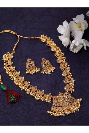 Shining Diva Gold-Plated & Off-White Pearl Embellished Temple Jewellery Set