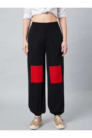 ATHENA Women Black & Red Loose Fit Solid Joggers