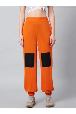 ATHENA Women Orange & Black Loose Fit Solid Joggers