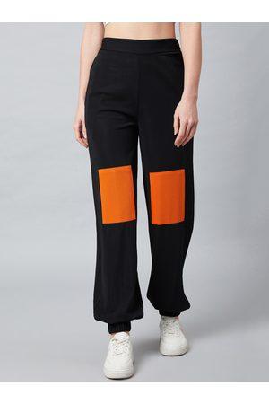 ATHENA Women Black & Orange Loose Fit Solid Joggers