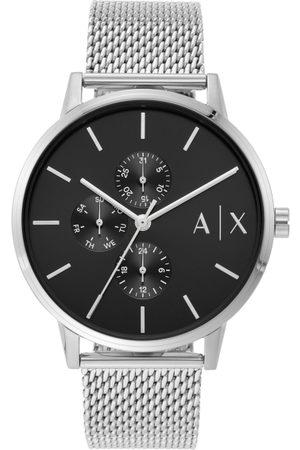 Armani Men Black & Silver-Toned Analogue Watch AX2714