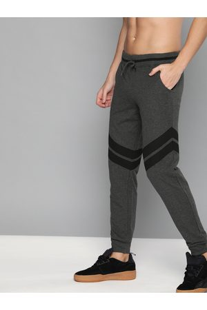 HERE&NOW Men Charcoal Grey & Black Colourblocked Straight Fit Joggers