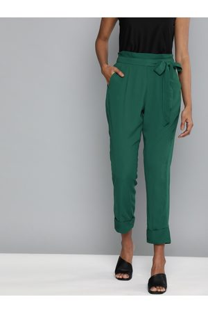 HERE&NOW Women Green Regular Fit Solid Cropped Peg Trousers With Waist Tie-Ups