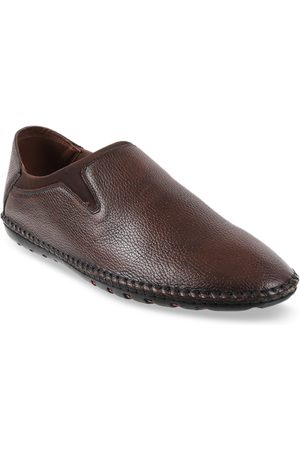 Metro Men Brown Textured Leather Slip-On Formal Shoes