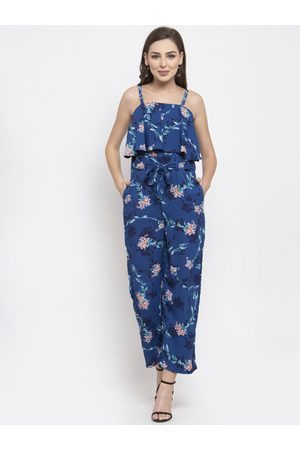 Jompers Women Blue & Pink Printed Basic Jumpsuit
