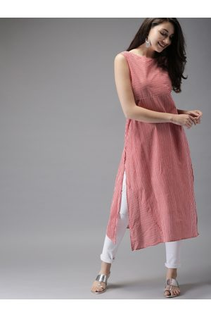 HERE&NOW Women Red & White Striped Straight Kurta