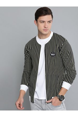 Difference of Opinion Men Black & Beige Striped Sweatshirt