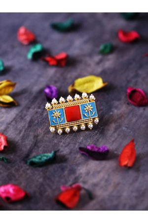 Studio Voylla Women Gold-Plated & Red Stone-Studded Adjustable Enamelled Finger Ring
