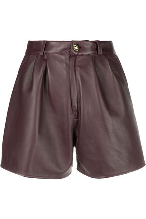 Etro Leather-effect pleated shorts