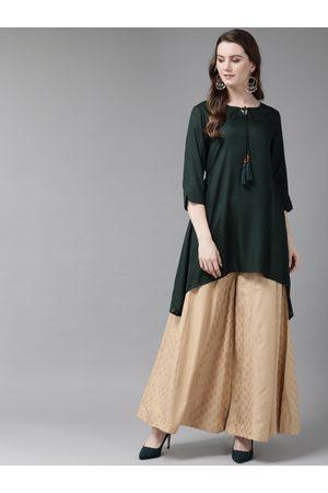 Juniper Women Green & Beige Solid A-Line Kurti
