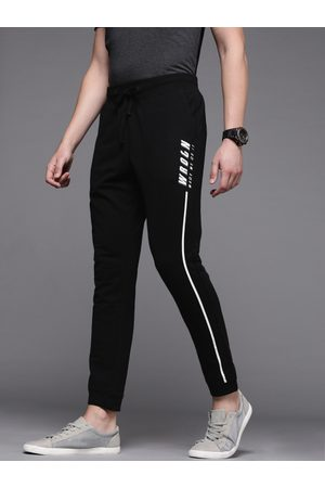 WROGN Men Black Slim Fit Solid Cropped Joggers with Printed Detail