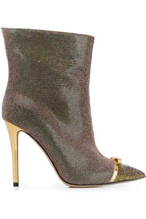 MARCO DE VINCENZO Iridescent studded 100mm leather boots
