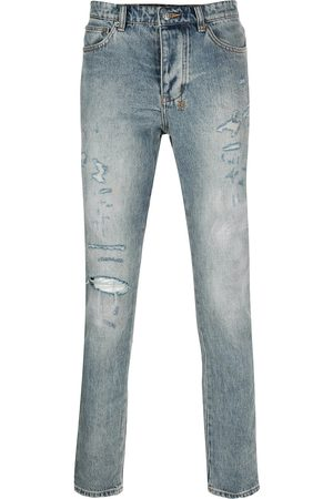 KSUBI Men Straight - Denim distressed straight leg jeans