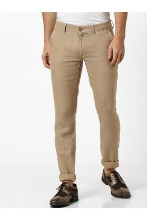 Celio Men Brown Slim Fit Solid Regular Linen Trousers