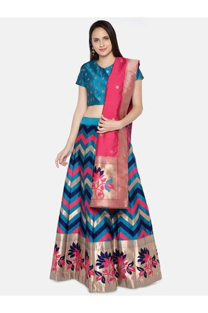 flaher Blue & Pink Woven Design Semi-Stitched Lehenga & Unstitched Blouse with Dupatta