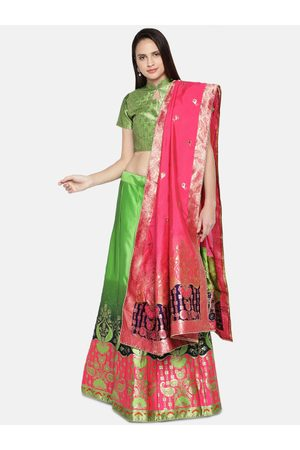 flaher Green & Pink Woven Design Semi-Stitched Lehenga & Unstitched Blouse with Dupatta