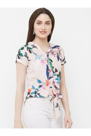MISH Women Peach-Coloured Printed Shirt Style Top