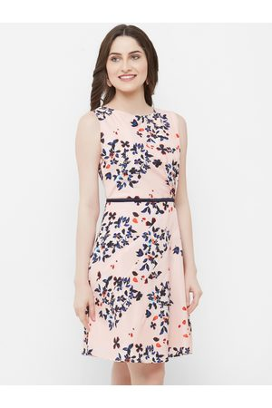 MISH Women Peach-Coloured Printed Fit and Flare Dress