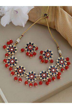 Shoshaa Gold-Plated Red & Blue Enamelled Stone Studded & Beaded Jewellery Set