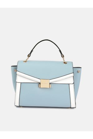 Mast & Harbour Blue & White Colourblocked Handheld Bag