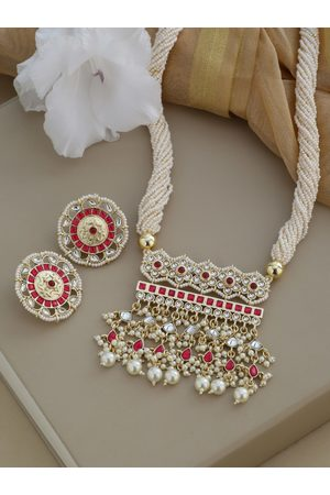 Shoshaa Gold-Plated & Off-White Kundan Studded Ranisa Jewellery Set