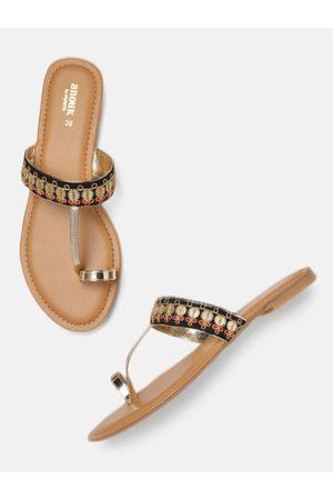 Anouk Women Gold-Toned & Black Embellished One Toe Flats