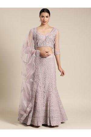Shaily Retails Lavender Semi-Stitched Embellished Lehenga & Blouse with Dupatta