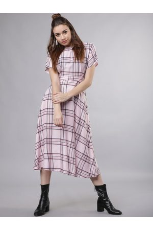 Tokyo Talkies Women Pink & Navy Blue Checked Fit and Flare Dress