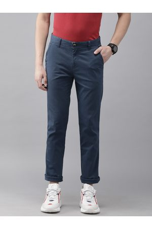 Pepe Jeans Men Blue Coste Slim Fit Solid Regular Trousers
