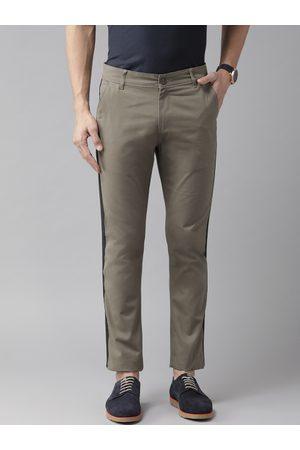 Hubberholme Men Olive Green Slim Fit Solid Stretchable Regular Trousers