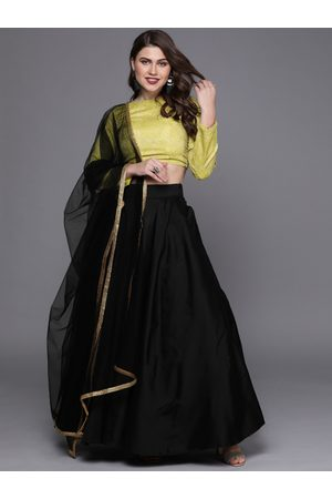 Bollywood Vogue Green & Black Made to Measure Lehenga with Blouse & Dupatta