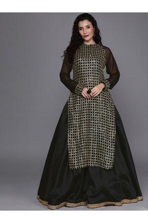 Bollywood Vogue Black Solid Made to Measure Lehenga Choli With Ethnic Jacket