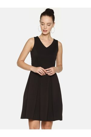 Aara Women Black Solid Fit and Flare Dress