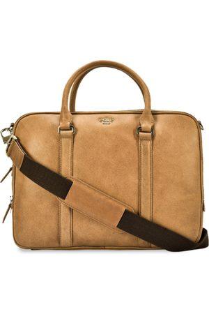 Eske Men Beige Solid Leather Laptop Bag