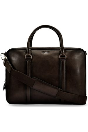 Eske Men Brown Solid Leather Laptop Bag
