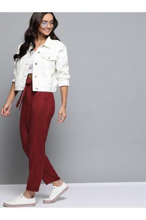 Mast & Harbour Women Maroon Regular Fit Solid Peg Trousers