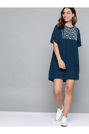 Mast & Harbour Women Dresses - Women Navy Embroidered A-Line Dress