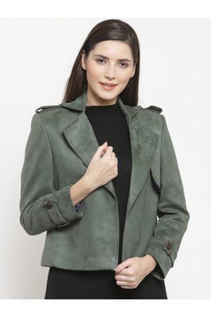AUDSTRO Women Olive Green Solid Open Front Suede Jacket