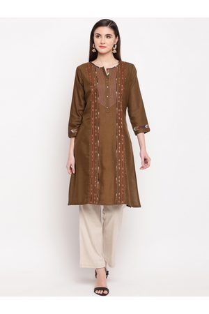 Kvsfab Women Brown Embroidered A-Line Kurta