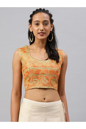 Aarrah Women Gold Toned & Orange Jacquard Embroidered Padded Saree Blouse